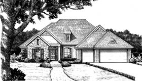 Bungalow, European House Plan 97850 with 4 Beds, 3 Baths, 3 Car Garage Front Elevation