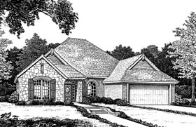 Bungalow, European, One-Story House Plan 97876 with 3 Beds, 3 Baths, 3 Car Garage Elevation