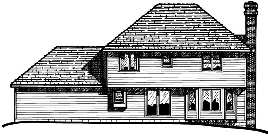 Bungalow, European House Plan 97906 with 4 Beds, 3 Baths, 2 Car Garage Rear Elevation