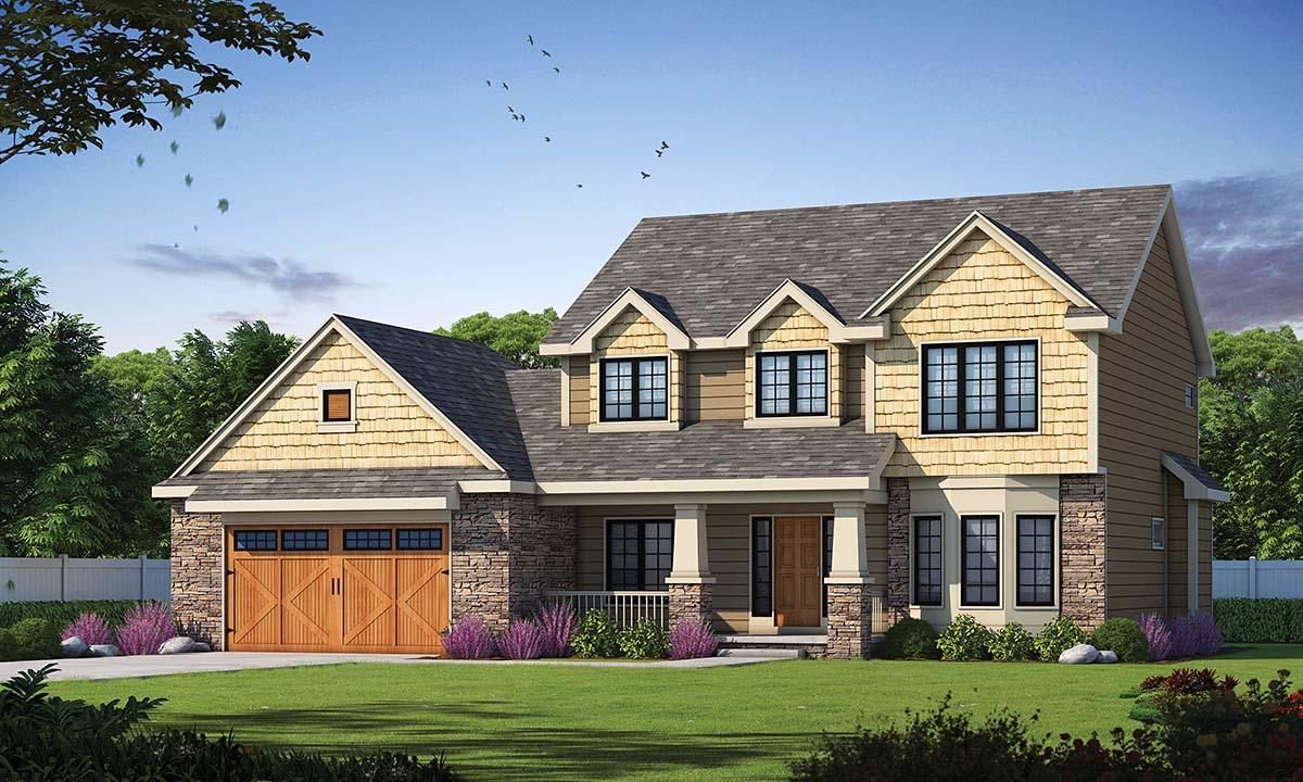 Craftsman House Plan 97951 with 3 Beds, 3 Baths, 2 Car Garage Elevation