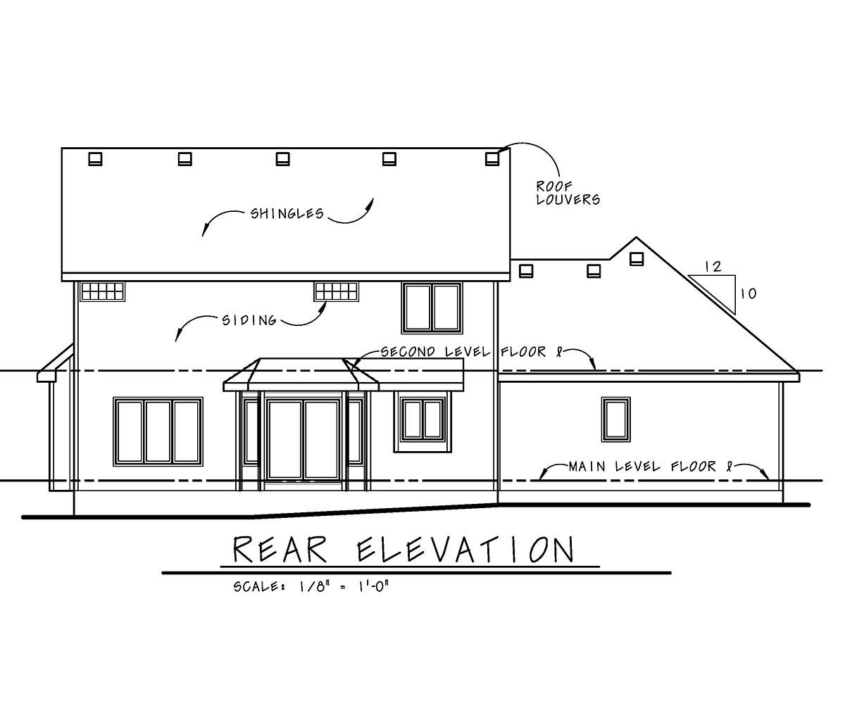 Craftsman House Plan 97951 with 3 Beds, 3 Baths, 2 Car Garage Rear Elevation