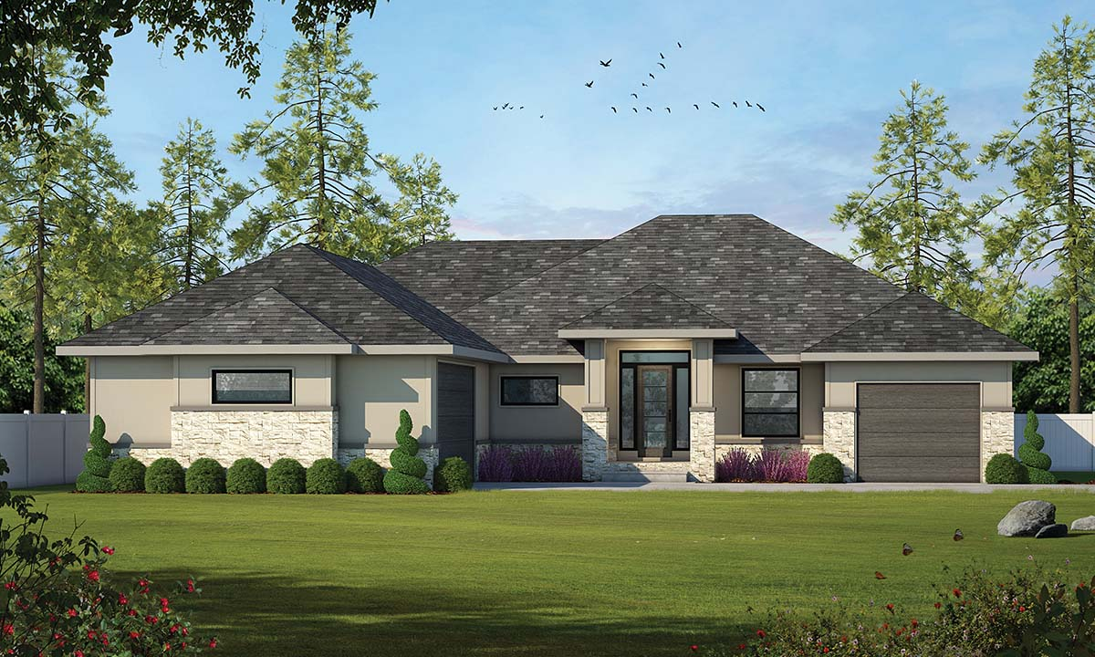 Mediterranean House Plan 97952 with 2 Beds, 2 Baths, 3 Car Garage Elevation