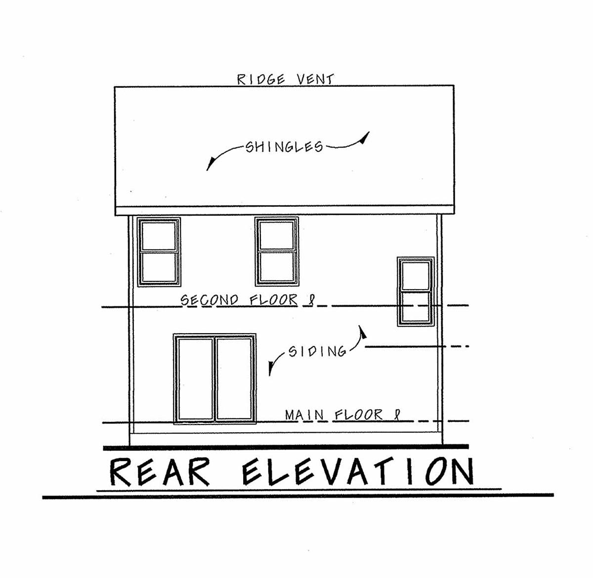 Traditional House Plan 97960 with 3 Beds, 3 Baths, 1 Car Garage Rear Elevation
