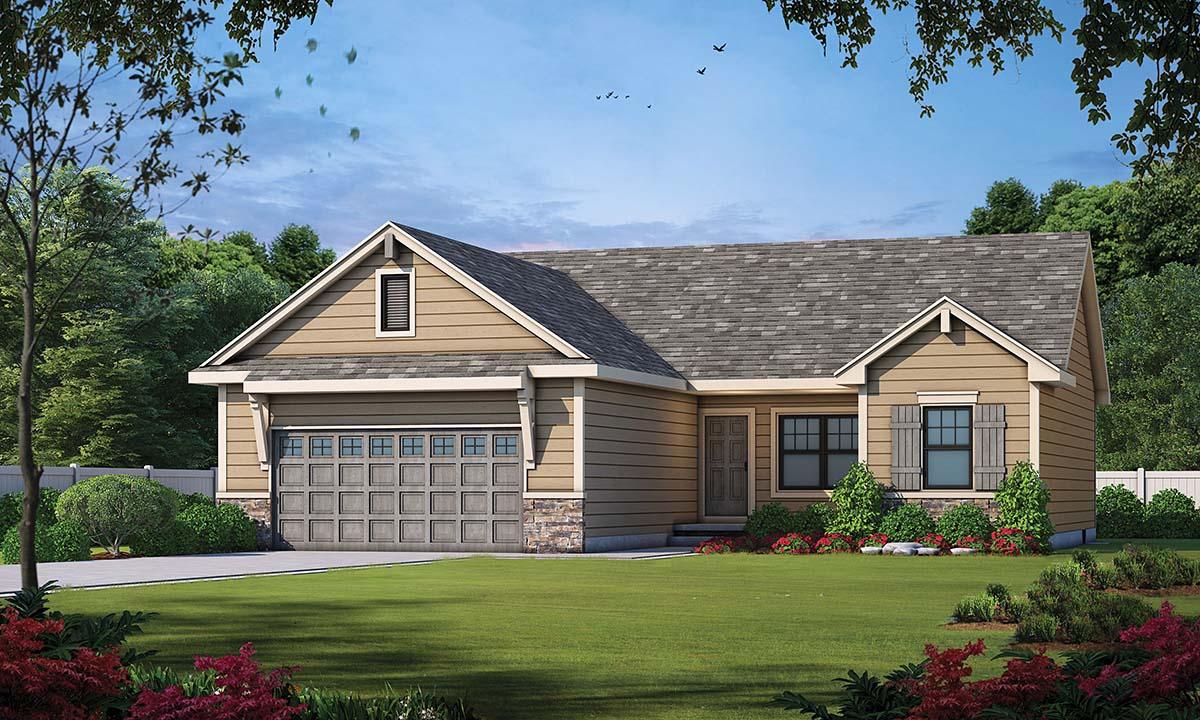 Craftsman House Plan 97978 with 3 Beds, 2 Baths, 2 Car Garage Front Elevation