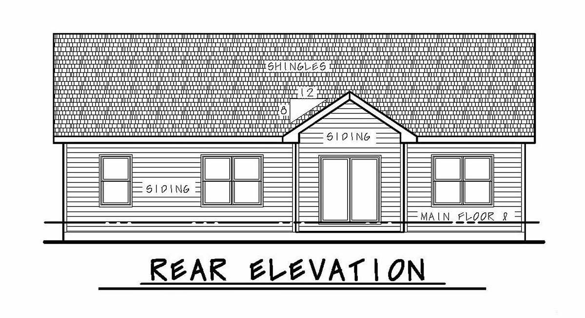 Craftsman House Plan 97978 with 3 Beds, 2 Baths, 2 Car Garage Rear Elevation