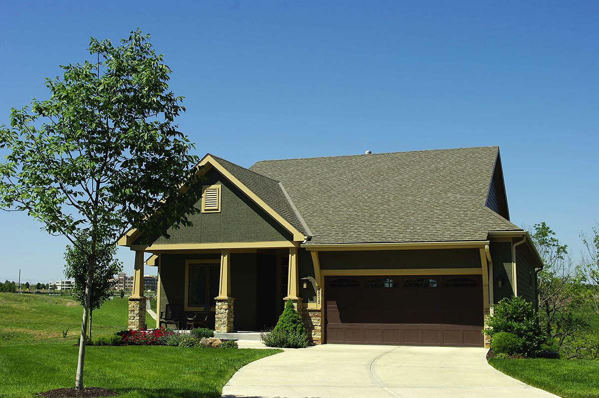 Bungalow, Cottage, Craftsman, Narrow Lot, One-Story House Plan 97987 with 2 Beds, 2 Baths, 2 Car Garage Elevation