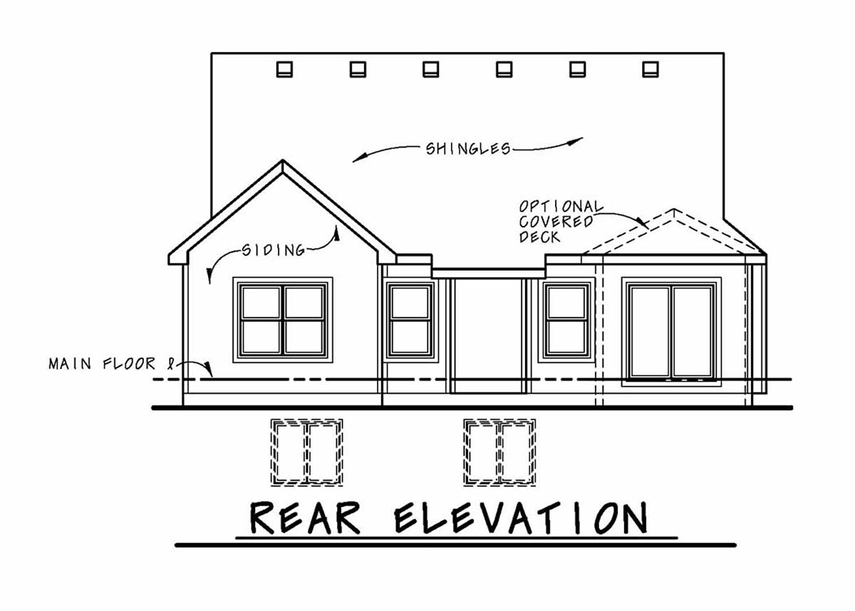 Bungalow, Cottage, Craftsman, Narrow Lot, One-Story House Plan 97987 with 2 Beds, 2 Baths, 2 Car Garage Rear Elevation