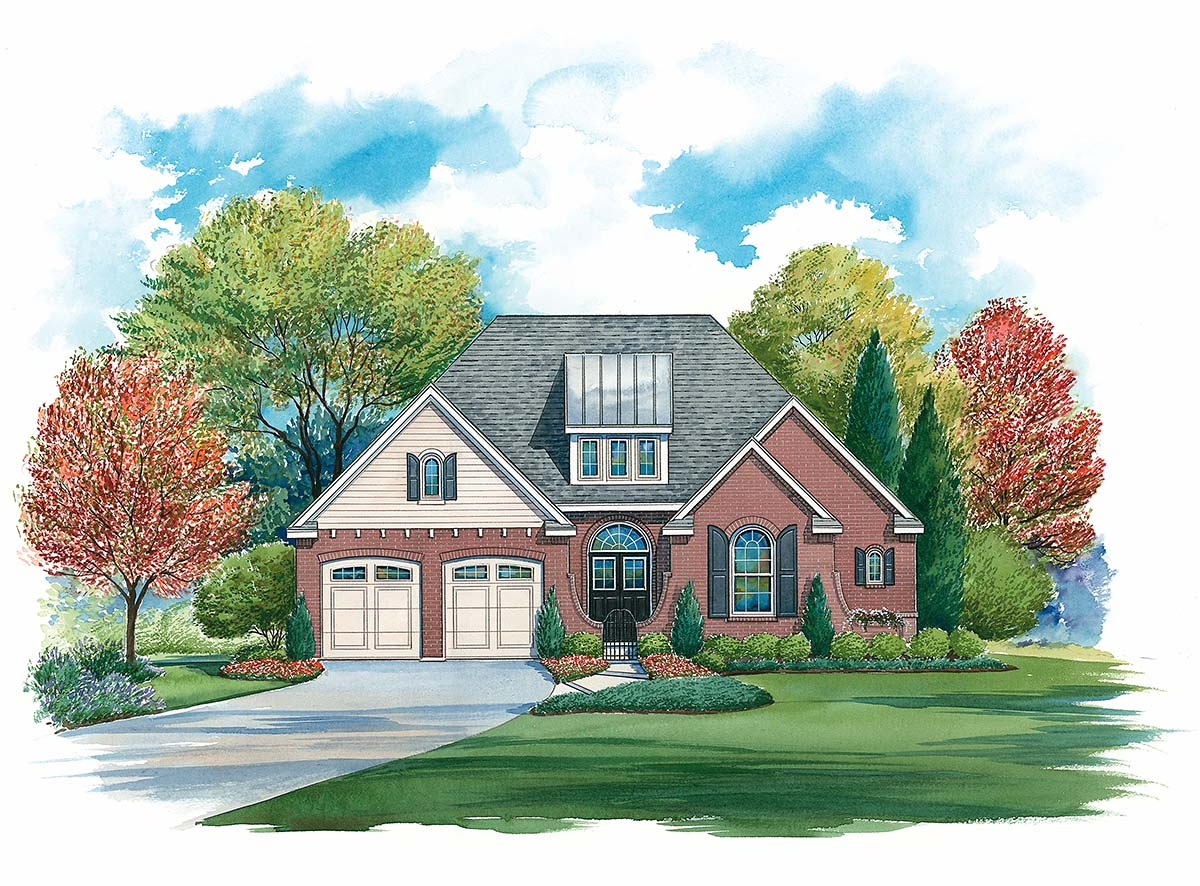 Traditional House Plan 97995 with 4 Beds, 4 Baths, 2 Car Garage Front Elevation