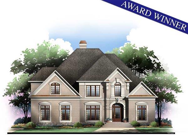 European, Greek Revival House Plan 98211 with 4 Beds, 4 Baths, 3 Car Garage Elevation