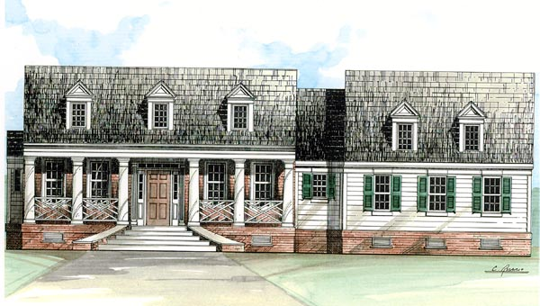 Cape Cod, Colonial, Country, One-Story House Plan 98224 with 3 Beds, 3 Baths, 2 Car Garage Elevation