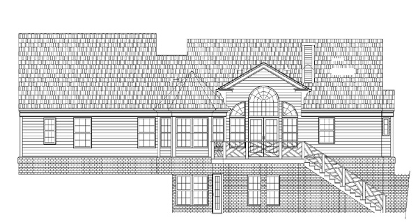 Cape Cod, Colonial, Country, One-Story House Plan 98224 with 3 Beds, 3 Baths, 2 Car Garage Rear Elevation