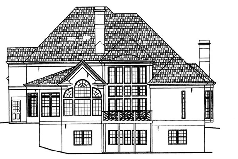 European, Greek Revival, Victorian House Plan 98226 with 4 Beds, 4 Baths, 3 Car Garage Rear Elevation