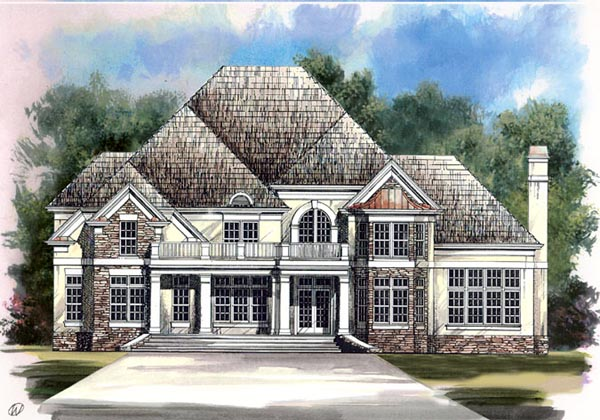 Colonial, European, Greek Revival, Tudor House Plan 98227 with 4 Beds, 4 Baths, 2 Car Garage Elevation
