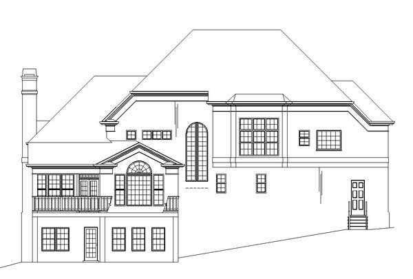 Colonial, European, Greek Revival, Tudor House Plan 98227 with 4 Beds, 4 Baths, 2 Car Garage Rear Elevation