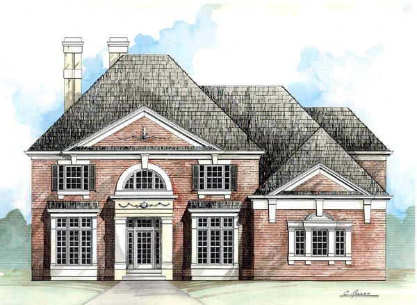 Colonial, European, Greek Revival House Plan 98228 with 4 Beds, 4 Baths, 2 Car Garage Elevation