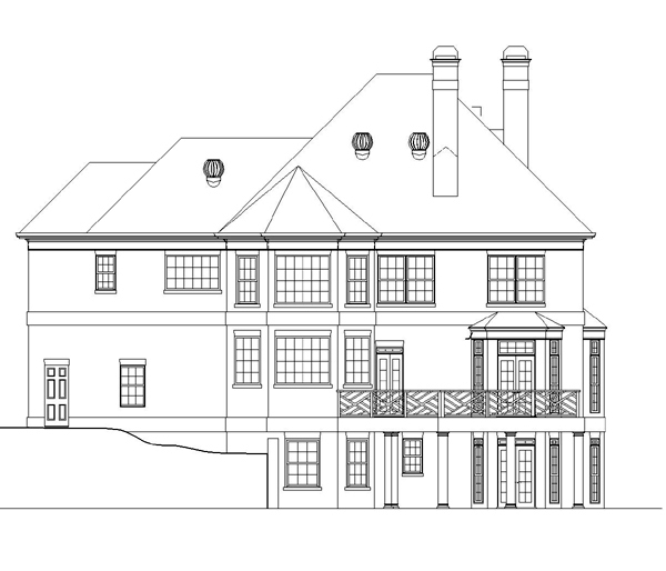 Colonial, European, Greek Revival House Plan 98228 with 4 Beds, 4 Baths, 2 Car Garage Rear Elevation