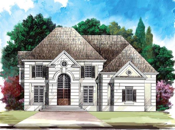 European, Greek Revival House Plan 98230 with 4 Beds, 4 Baths, 2 Car Garage Front Elevation