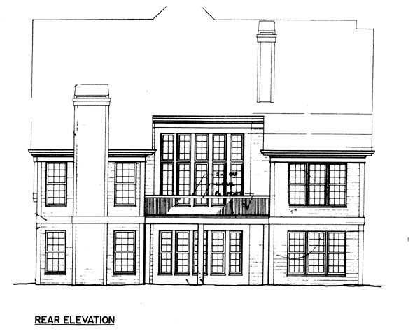 Colonial, Country House Plan 98235 with 4 Beds, 4 Baths, 2 Car Garage Rear Elevation
