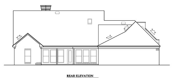 Prairie, Southwest House Plan 98366 with 4 Beds, 3 Baths, 3 Car Garage Rear Elevation