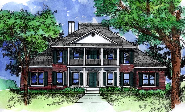Colonial, Southern House Plan 98370 with 4 Beds, 4 Baths, 2 Car Garage Elevation