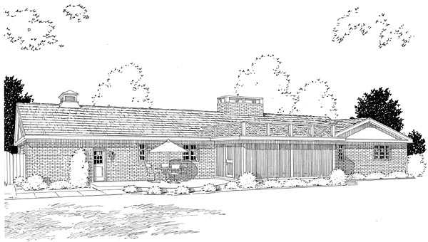 Colonial, One-Story, Ranch, Retro, Traditional House Plan 9850 with 3 Beds, 3 Baths, 2 Car Garage Rear Elevation