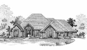 European, One-Story House Plan 98528 with 4 Beds, 4 Baths Front Elevation