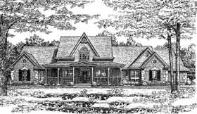 Country, Farmhouse, French Country House Plan 98536 with 4 Beds, 3 Baths, 3 Car Garage Elevation
