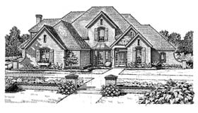 European, French Country House Plan 98537 with 4 Beds, 4 Baths, 3 Car Garage Front Elevation