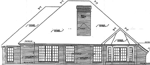 European House Plan 98579 with 3 Beds, 3 Baths, 3 Car Garage Rear Elevation
