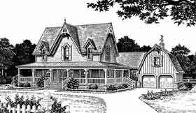 Bungalow, Farmhouse, Victorian House Plan 98581 with 4 Beds, 4 Baths, 2 Car Garage Elevation
