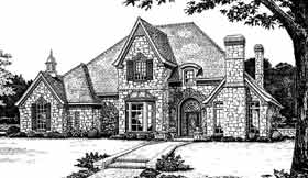 European, French Country, Tudor House Plan 98586 with 4 Beds, 4 Baths, 3 Car Garage Elevation