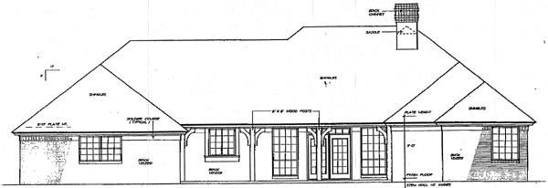 European House Plan 98593 with 4 Beds, 3 Baths, 3 Car Garage Rear Elevation
