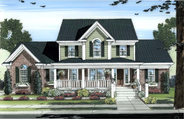 Country House Plan 98604 with 4 Beds, 3 Baths, 3 Car Garage Front Elevation