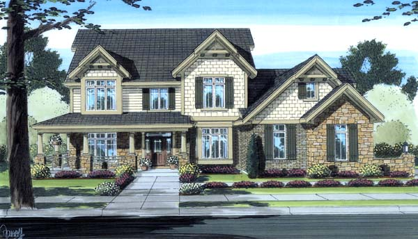 Country, Craftsman House Plan 98605 with 4 Beds, 3 Baths, 3 Car Garage Front Elevation