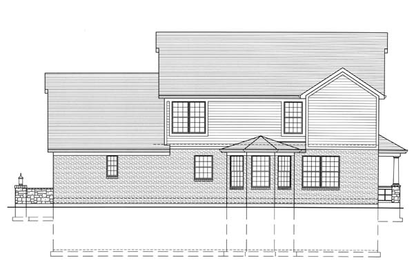 Country, Craftsman House Plan 98605 with 4 Beds, 3 Baths, 3 Car Garage Rear Elevation