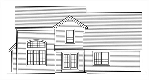 Traditional House Plan 98635 with 4 Beds, 3 Baths, 2 Car Garage Rear Elevation