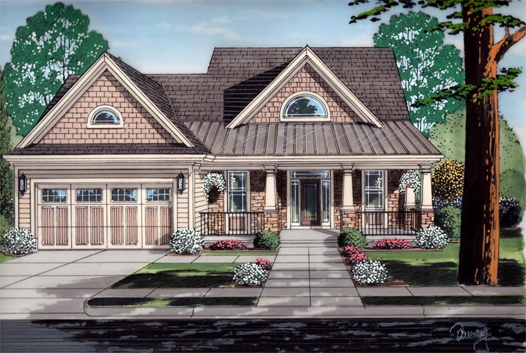 Cottage, Craftsman House Plan 98642 with 4 Beds, 3 Baths, 2 Car Garage Elevation