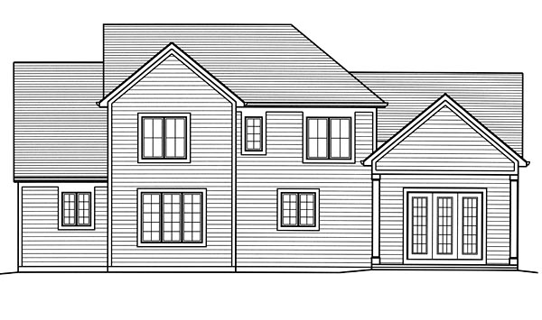 Craftsman, European, Traditional House Plan 98678 with 4 Beds, 4 Baths, 2 Car Garage Rear Elevation