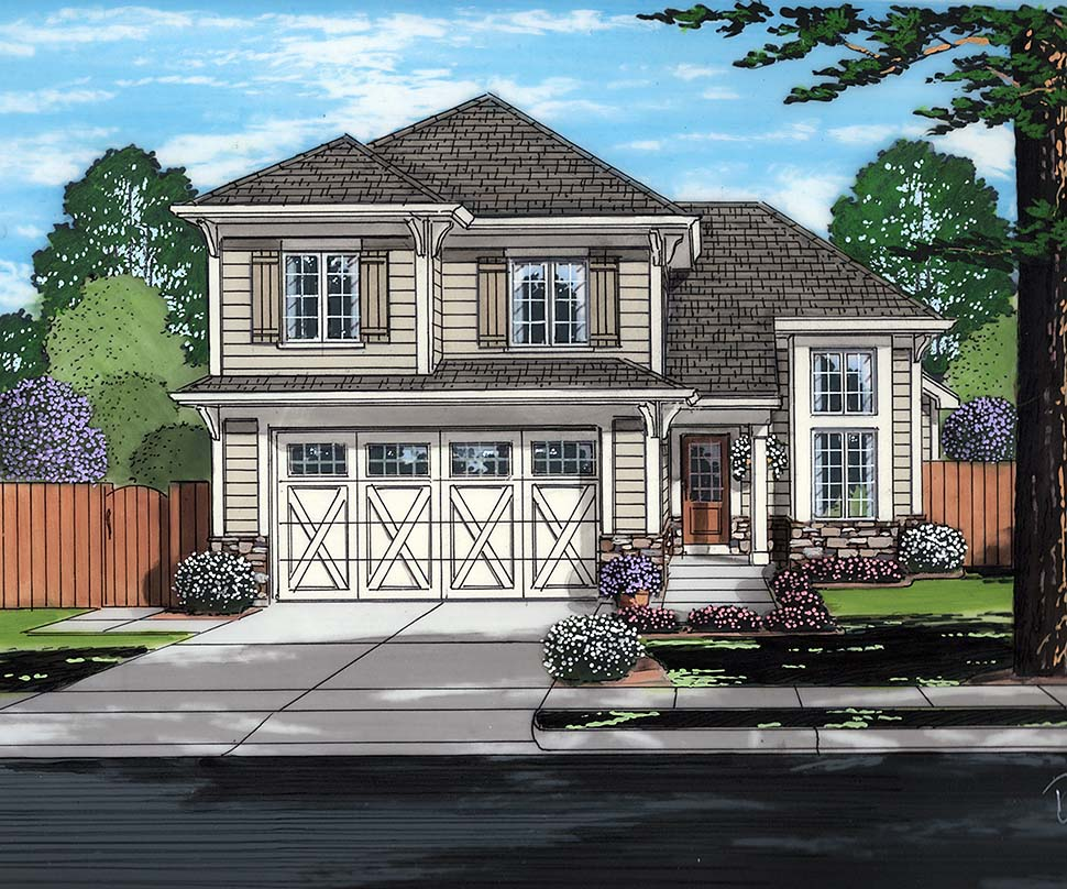 Contemporary, Cottage House Plan 98690 with 3 Beds, 3 Baths, 2 Car Garage Front Elevation