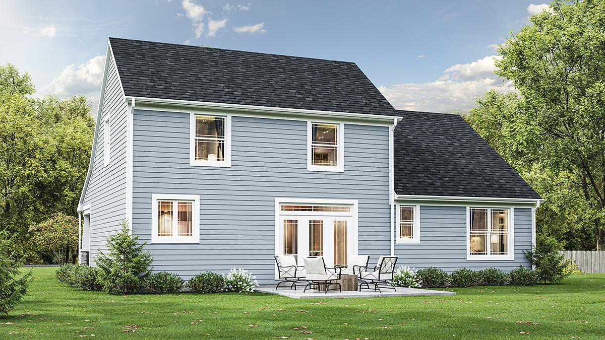 Bungalow, Cape Cod, Cottage House Plan 98698 with 4 Beds, 3 Baths, 2 Car Garage Rear Elevation