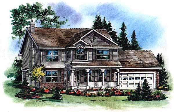 Farmhouse House Plan 98826 with 5 Beds, 3 Baths, 2 Car Garage Elevation