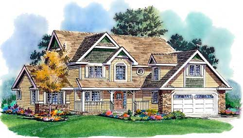 Country, Craftsman, Farmhouse House Plan 98850 with 5 Beds, 3 Baths, 2 Car Garage Elevation