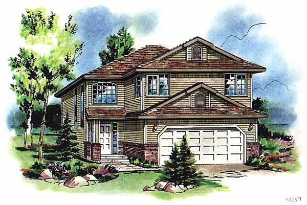 European, Narrow Lot, Traditional House Plan 98869 with 5 Beds, 3 Baths, 2 Car Garage Front Elevation