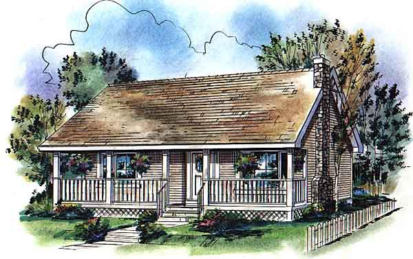 Country, Narrow Lot, One-Story House Plan 98872 with 2 Beds, 1 Baths Front Elevation