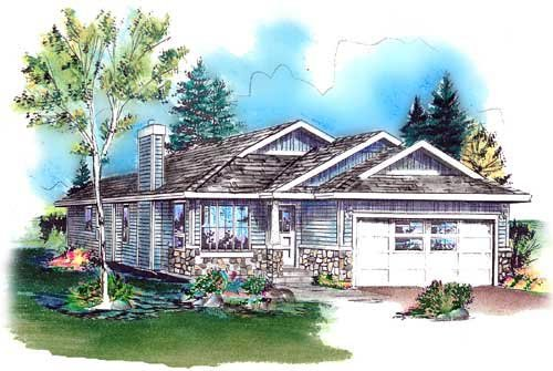 Bungalow, Narrow Lot, One-Story, Ranch House Plan 98886 with 3 Beds, 2 Baths, 2 Car Garage Front Elevation