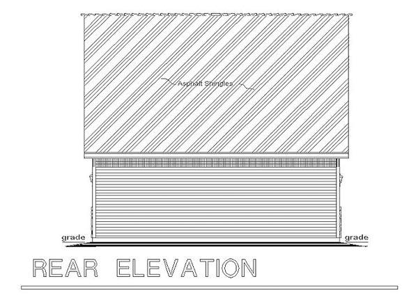 Cape Cod 2 Car Garage Apartment Plan 98892 with 2 Beds, 1 Baths Rear Elevation