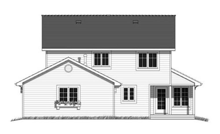 Country, Southern House Plan 98898 with 4 Beds, 4 Baths, 2 Car Garage Rear Elevation