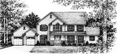 Country, Farmhouse House Plan 99059 with 4 Beds, 4 Baths, 2 Car Garage Elevation