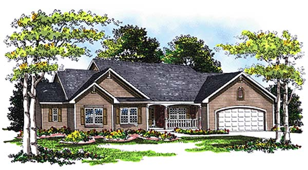One-Story, Ranch, Traditional House Plan 99105 with 3 Beds, 3 Baths, 3 Car Garage Front Elevation