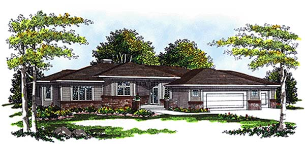 Prairie, Southwest House Plan 99111 with 3 Beds, 2 Baths, 3 Car Garage Elevation